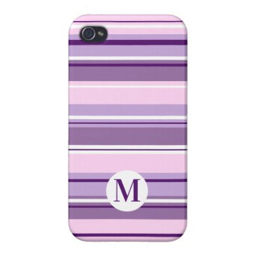 Mixed Striped Pattern Pinks Purples White(Initial) Case For iPhone 4