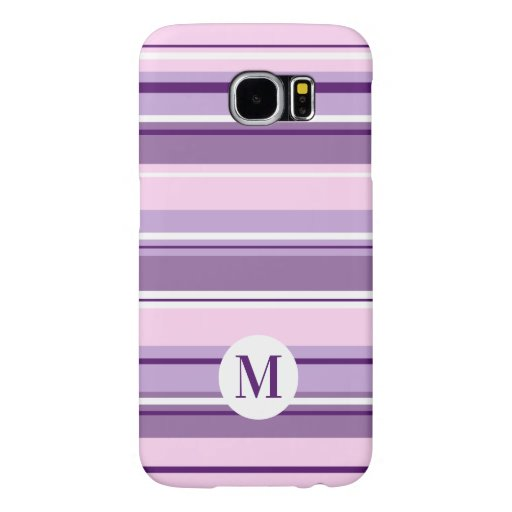 Mixed Striped Pattern Pinks Purples White(Initial) Samsung Galaxy S6 Case