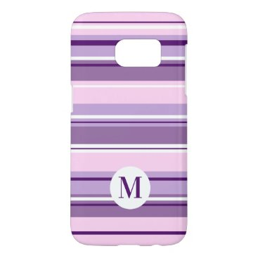 Mixed Striped Pattern Pinks Purples White(Initial) Samsung Galaxy S7 Case