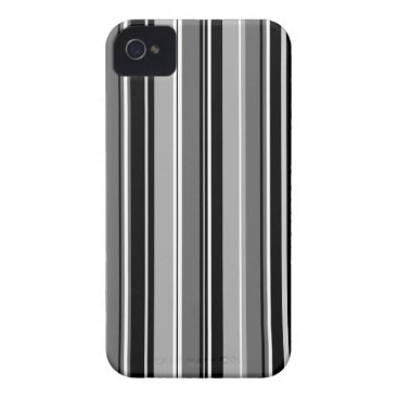 Mixed Striped (V) Pattern Black White Grays Case-Mate iPhone 4 Case