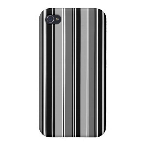 Mixed Striped (V) Pattern Black White Grays Case For iPhone 4