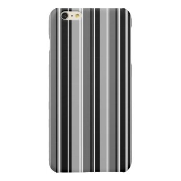 Mixed Striped (V) Pattern Black White Grays Glossy iPhone 6 Plus Case