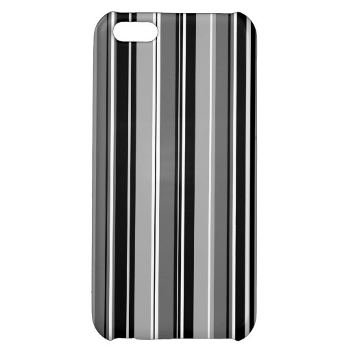 Mixed Striped (V) Pattern Black White Grays Case For iPhone 5C