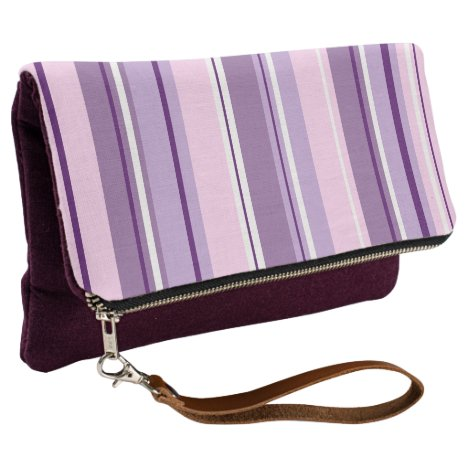 Mixed Striped (V) Pattern Pinks Purples White Clutch