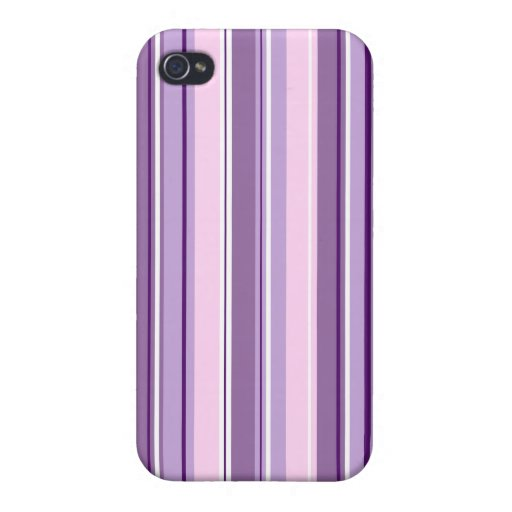 Mixed Striped (V) Pattern Pinks Purples White Case For iPhone 4
