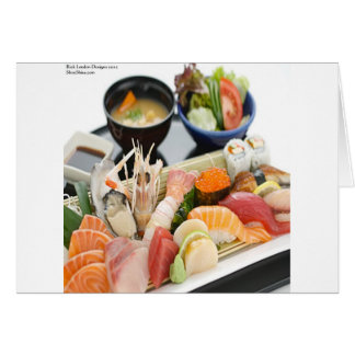 Mixed Sushi Plate & Japanese Soup Art Gifts & Tees Card