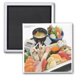Mixed Sushi Plate & Japanese Soup Art Gifts & Tees Magnet