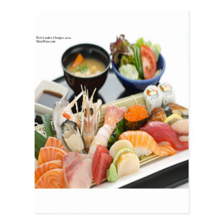 Mixed Sushi Plate & Japanese Soup Art Gifts & Tees Post Cards