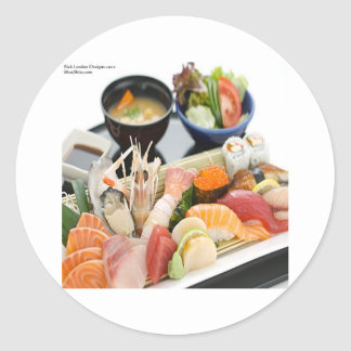 Mixed Sushi Plate & Japanese Soup Art Gifts & Tees Round Stickers