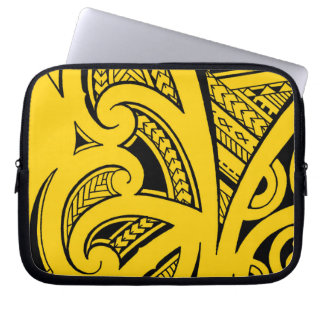 Mixed tattoo styles, Maori, Samoan and Polynesian Laptop Sleeve