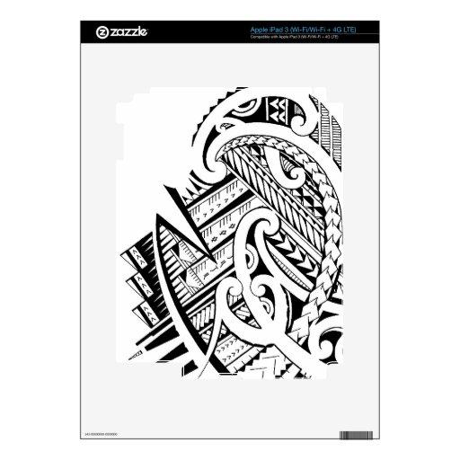 Mixed tribal tattoo design in Maori / Samoan style Decal For iPad 3