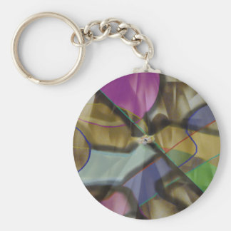 Mixed Up Colorful Abstract Basic Round Button Keychain