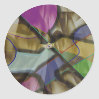 Mixed Up Colorful Abstract Classic Round Sticker