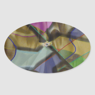 Mixed Up Colorful Abstract Oval Sticker