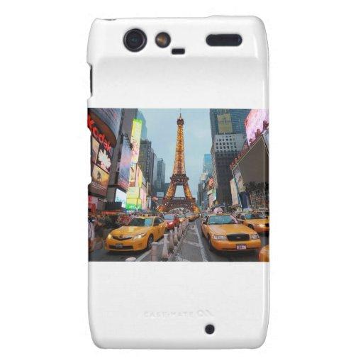 Mixed up World - New York City & Paris Motorola Droid RAZR Covers