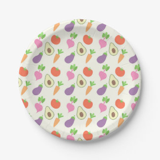 Mixed Vegetable Pattern Paper Plate