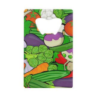 Mixed vegetables credit card bottle opener