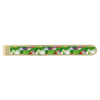 Mixed vegetables gold finish tie clip