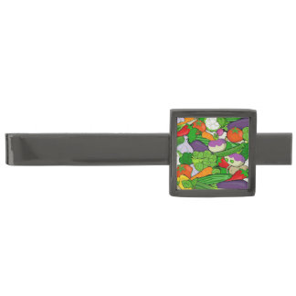 Mixed vegetables gunmetal finish tie clip