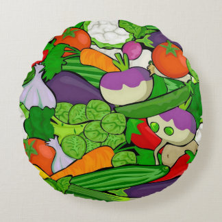 Mixed vegetables round pillow
