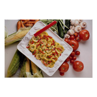 Mixed vegetables, salad plate poster