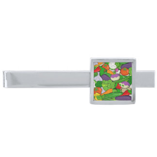 Mixed vegetables silver finish tie clip