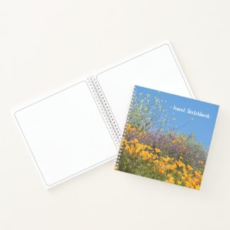 Mixed Wildflowers Travel Sketchbook Notebook