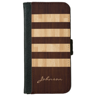Mixed Wood and Bamboo Stripes - Wood Grain Look iPhone 6/6s Wallet Case