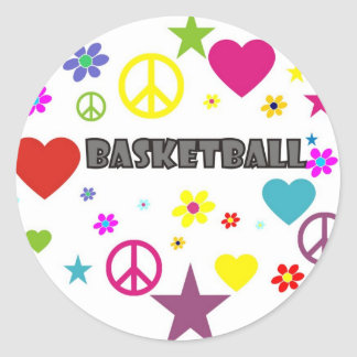 mixedgraphics-basketball. classic round sticker