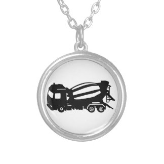 mixer truck camion toupie silver plated necklace
