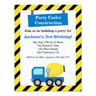 Mixer Truck Construction Theme kids Birthday Party 4.25x5.5 Paper Invitation Card