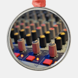 Mixing Board Buttons Round Metal Christmas Ornament