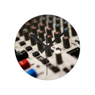 Mixing Board Closeup Round Clock