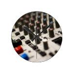 Mixing Board Closeup Round Wall Clocks