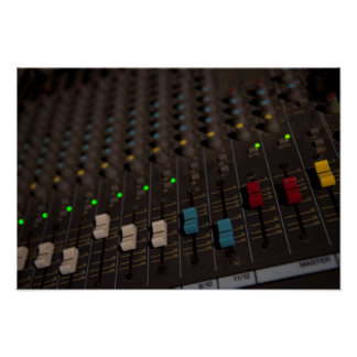 Mixing Board Faders Poster