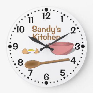 Mixing Bowl and Spoon Kitchen Clock w Minutes