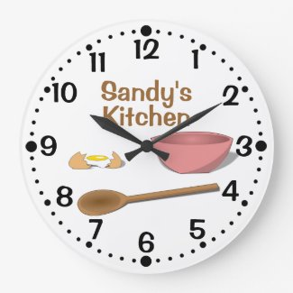 Mixing Bowl and Spoon Kitchen Clock w/ Minutes