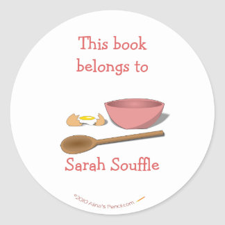 Mixing Bowl Customized Cookbook Bookplate Sticker
