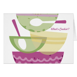 Mixing bowls stacked orchid cooking baking bakery card