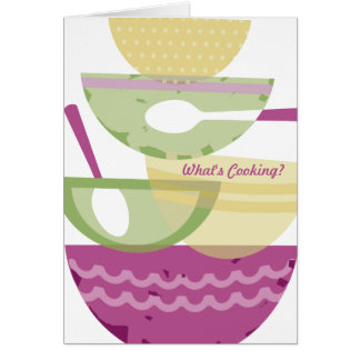Mixing bowls stacked orchid cooking baking bakery greeting card