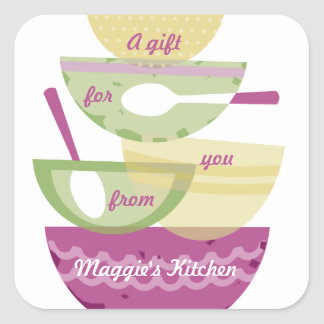 Mixing bowls stacked orchid cooking baking bakery square sticker