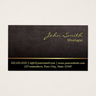 Mixologist Darker Leather Texture Business Card