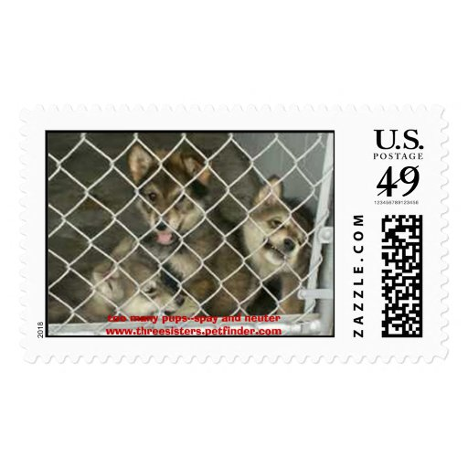 mixpups2, too many pups--spay and neuterwww.thr... postage stamps