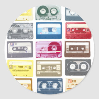 Mixtapes Graphic Round Stickers