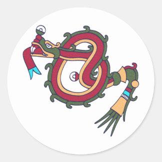Mixtec Serpent Round Stickers