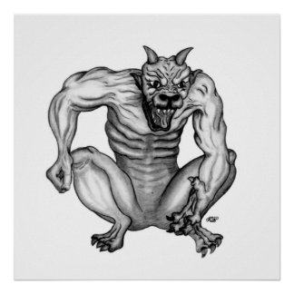 Mixture nature GOLEM devil black-and-white Design Poster