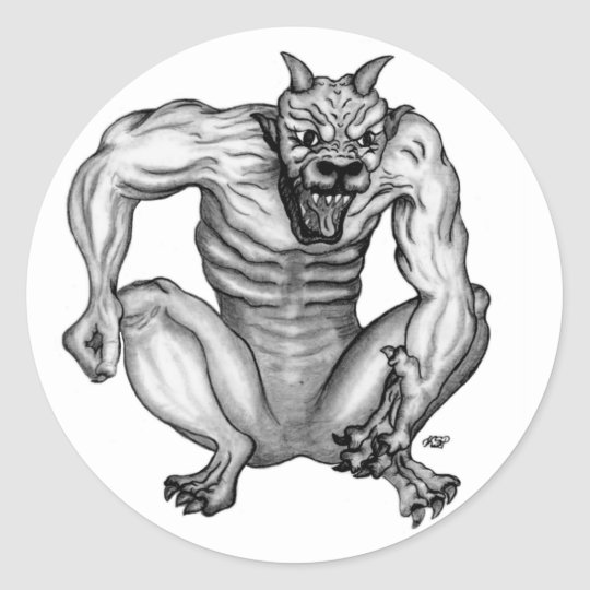 Mixture nature - Troll devil and GOLEM Classic Round Sticker