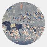 Miya por Ando, Hiroshige Ukiyoe Etiquetas Redondas