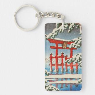 Miyajima en arte del hanga de la espinilla de Hasu Llavero Rectangular Acrílico A Doble Cara