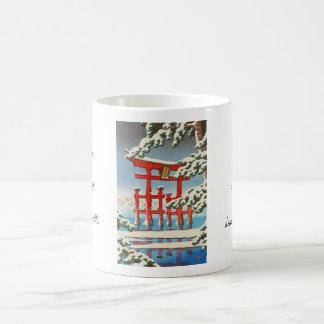 Miyajima in Snow Hasui Kawase shin hanga art Classic White Coffee Mug
